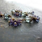 Sage and Lavender Vintage Style Flower Bracelet view 4