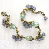 Sage and Lavender Vintage Style Flower Bracelet view 2