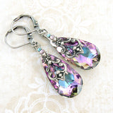 Swarovski crystal Vitrail Light teardrop earrings