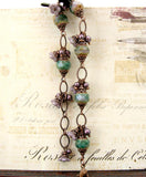 Purple and Green Copper Nature Bracelet