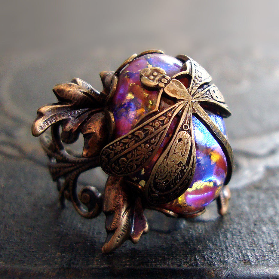 Victorian Dragonfly Filigree Statement Ring
