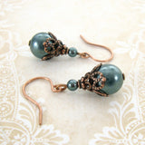 Dark Teal Swarovski Pearl Earrings