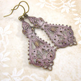 Distressed Pink Patina Victorian Filigree Earrings view 3
