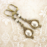 Victorian Ivory Pearl Cabochon Earrings