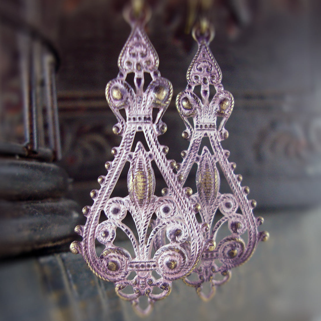Distressed Pink Patina Victorian Filigree Earrings