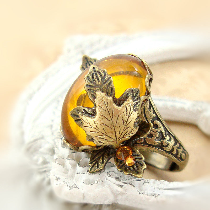 Topaz Cabochon Maple Leaf Adjustable Ring