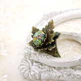 Woodland Maple Leaf Green Opal Adjustable Ring view 3
