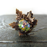 Woodland Maple Leaf Green Opal Adjustable Ring view 2