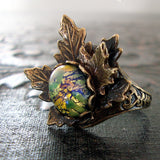 Woodland Maple Leaf Green Opal Adjustable Ring