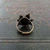 Woodland Maple Leaf Green Opal Adjustable Ring back view