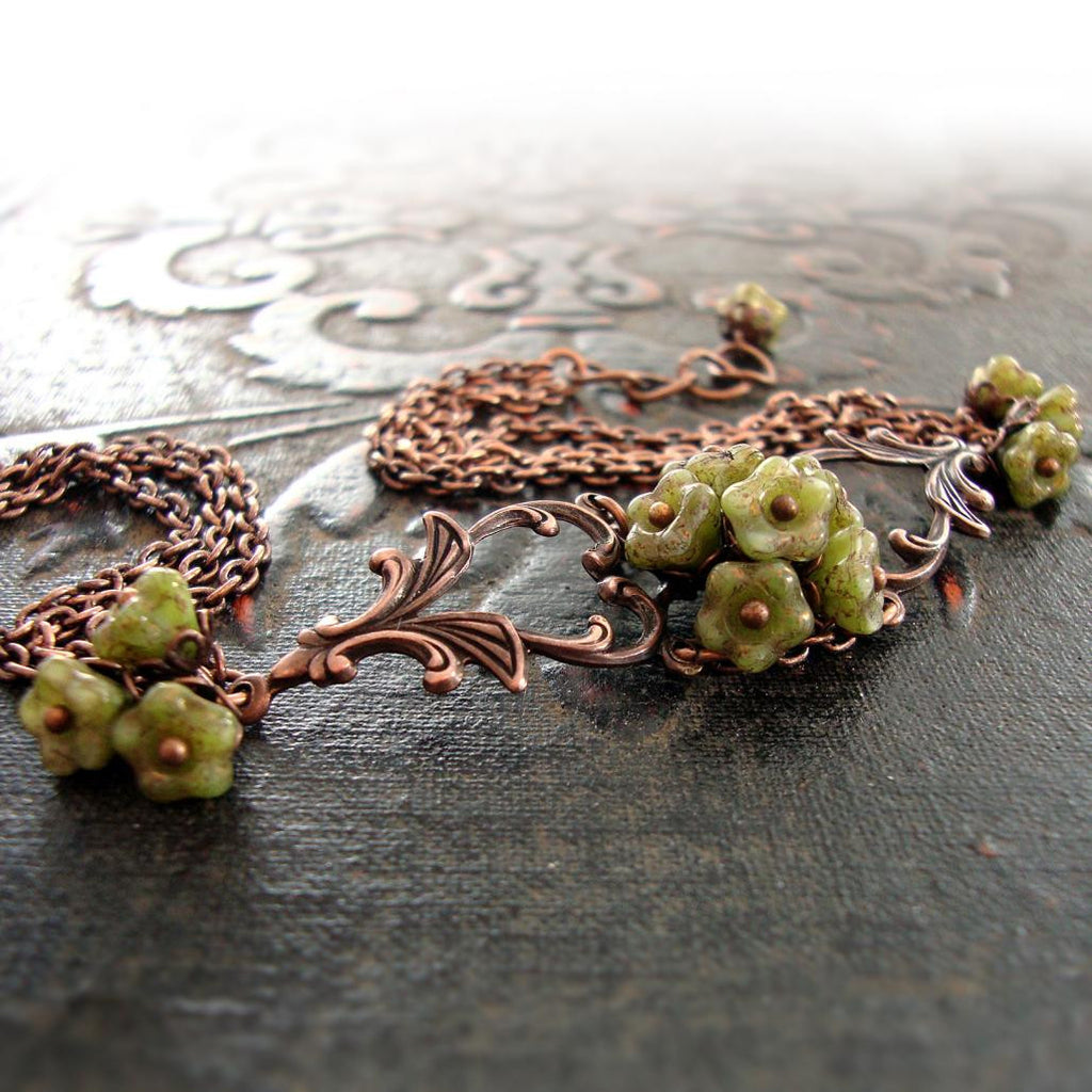 Copper and Green Flower Filigree Bracelet