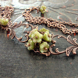 Copper and Green Flower Filigree Bracelet view 2
