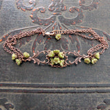 Copper and Green Flower Filigree Bracelet view 3