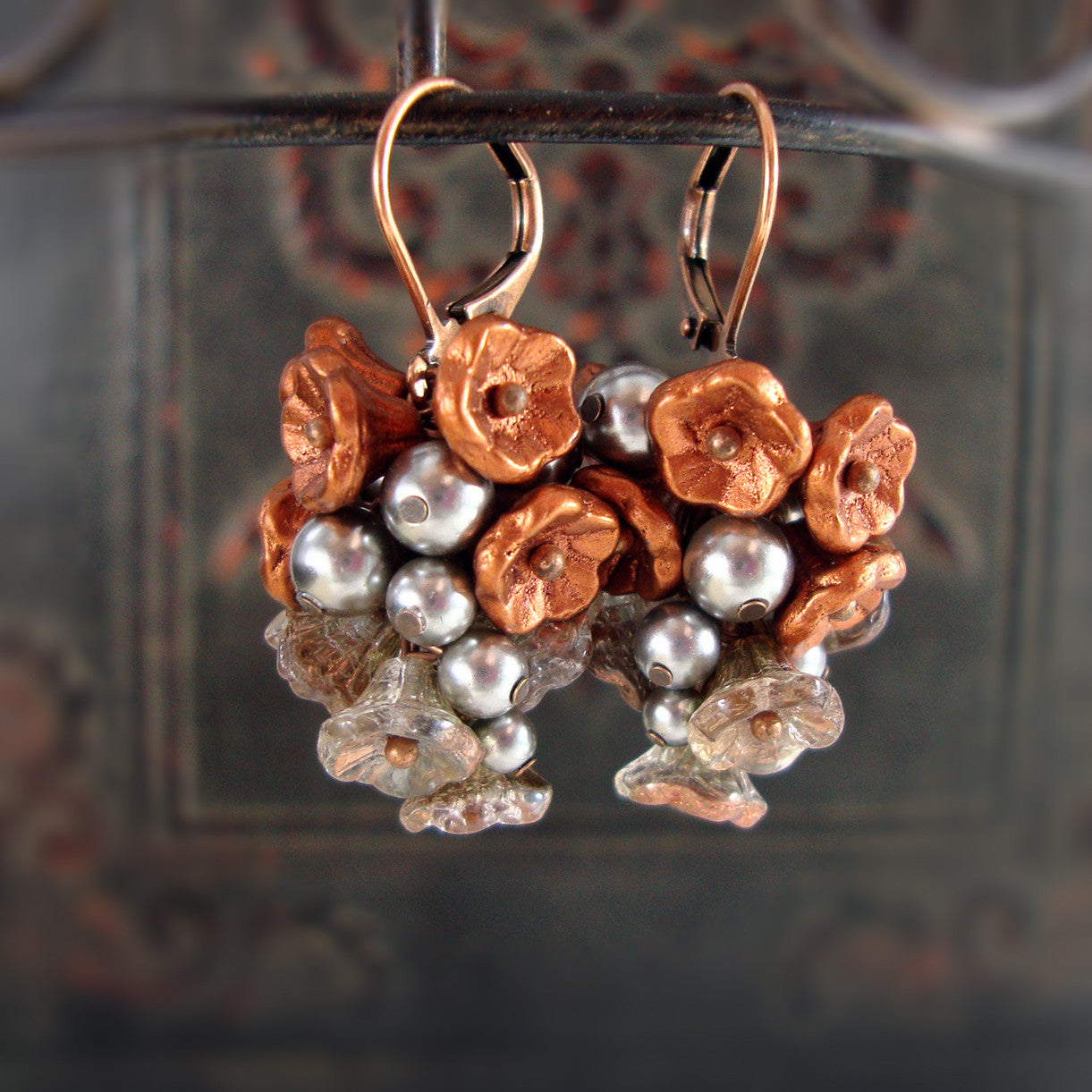 Rustic Copper and Silver Flower Cluster Earrings