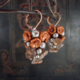 Rustic Copper and Silver Flower Cluster Earrings view 2