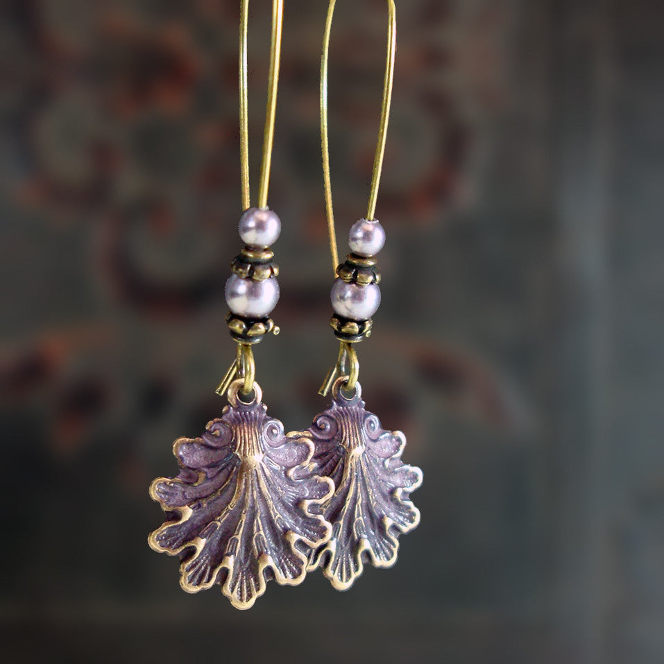 Mauve Patina Victorian Seashell Earrings