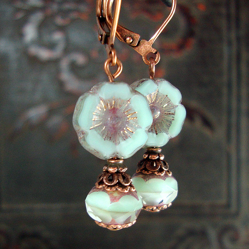 Mint And Lavender Vintage Style Copper Flower Earrings