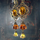Late Summer Blooms - Topaz Flower and Filigree Earrings