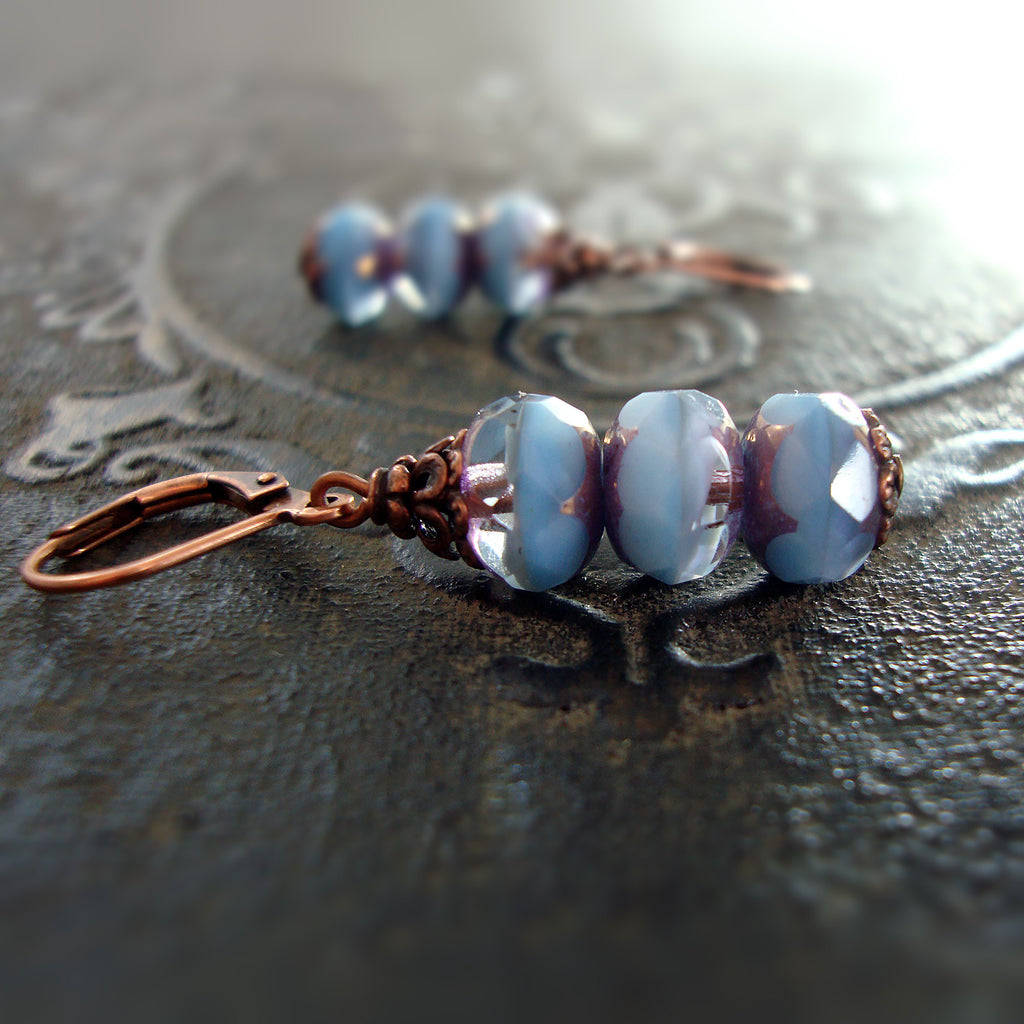 Blue Stacked Rondelle Earrings