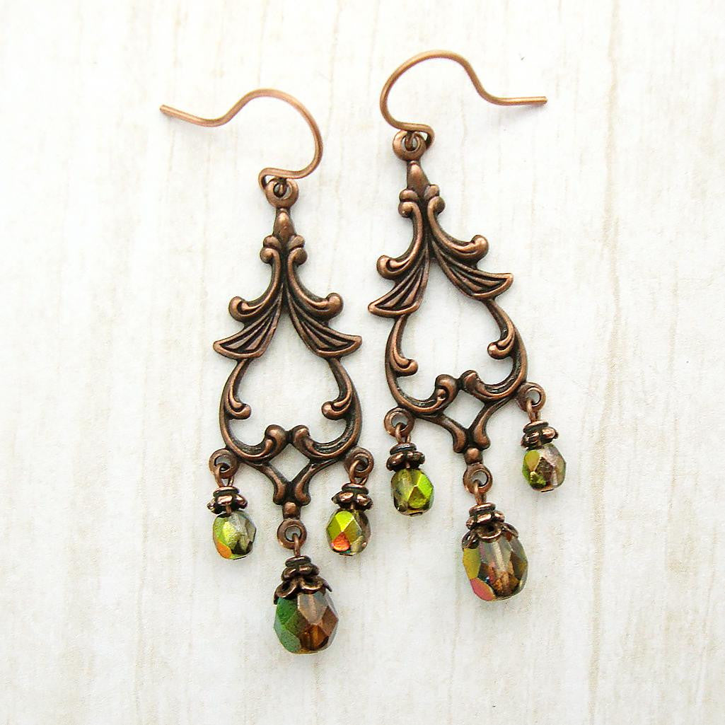 Woodland Copper Chandelier Earrings