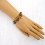 Olive Green and Rust Orange Woodland Bracelet mannequin view