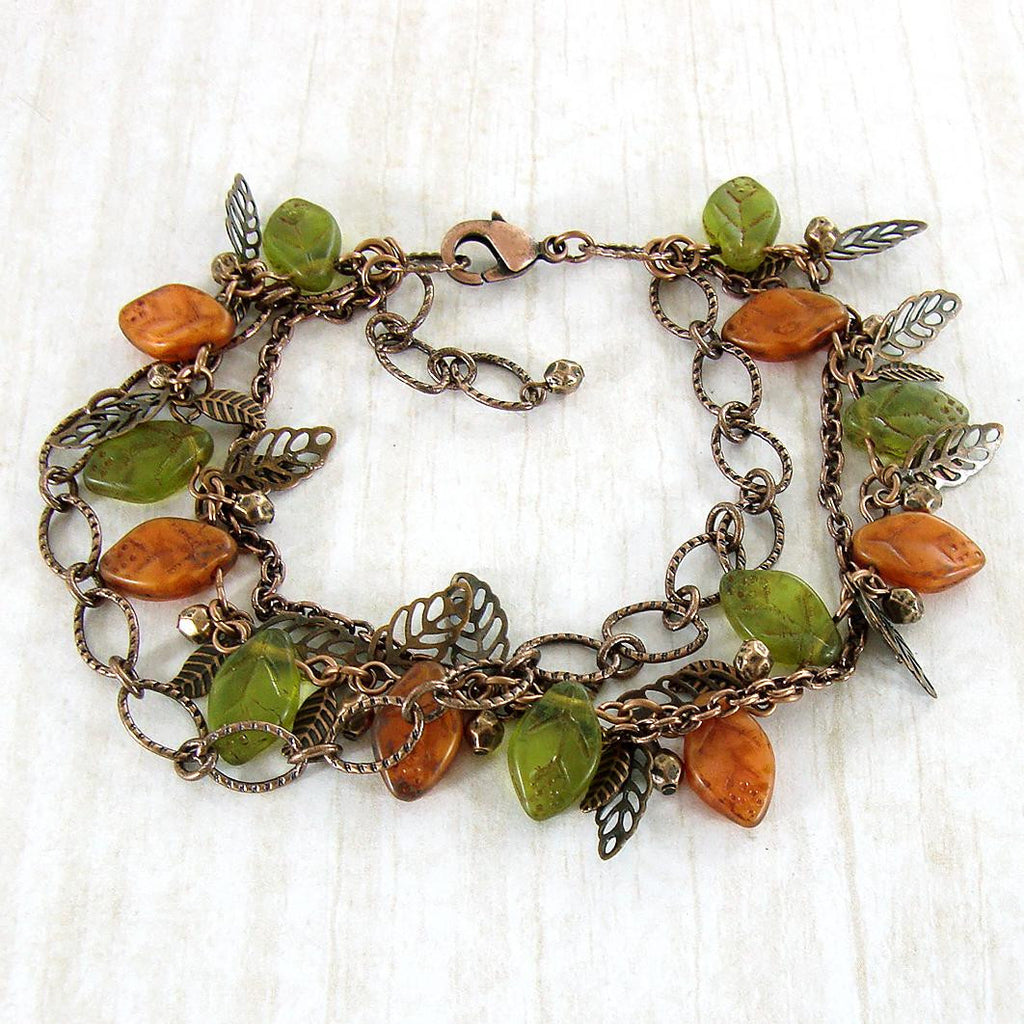 Olive Green and Rust Orange Woodland Bracelet