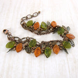 Olive Green and Rust Orange Woodland Bracelet view 2