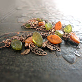 Olive Green and Rust Orange Woodland Bracelet view 3