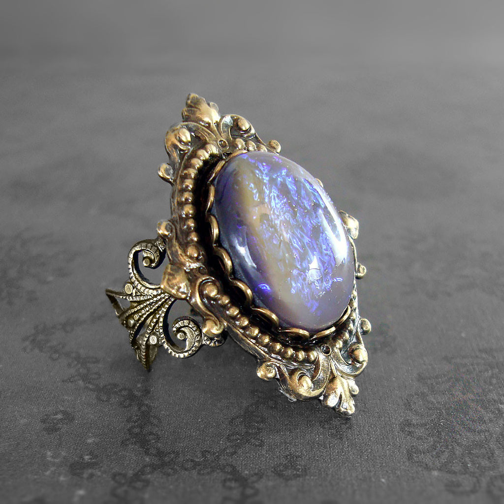 Tanzanite Opal Cabochon Victorian Filigree Ring