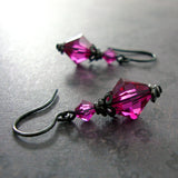 Gothic Fuchsia Crystal Earrings