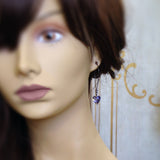 Tanzanite Swarovski Crystal Heart Earrings mannequin view
