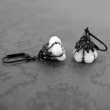 White Gothic Flower Earrings view 2