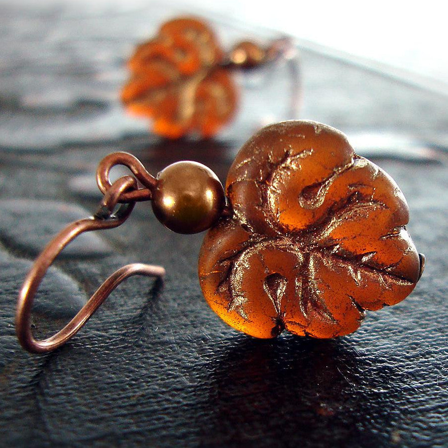 Glowing Embers Rust Orange Leaf Earrings