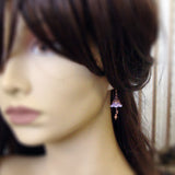 Lavender Faerie Flower Earrings mannequin view