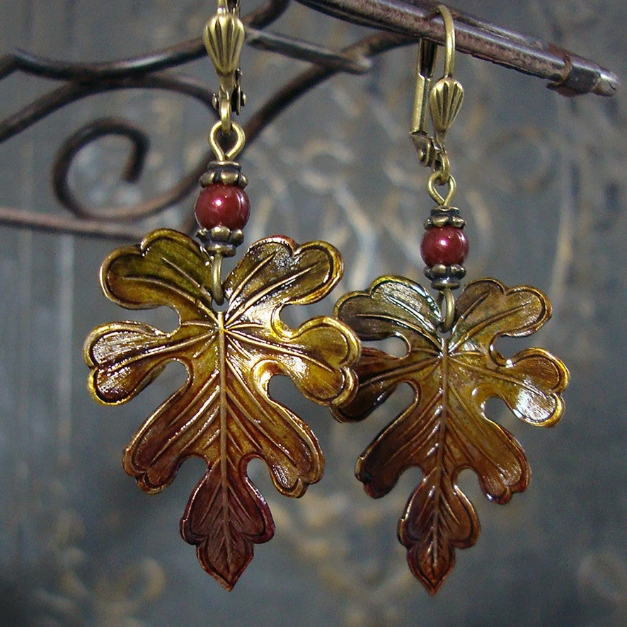 Rustic Autumn Patina Leaf Earrings