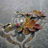 Rustic Autumn Patina Leaf Earrings view 2