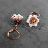 White Copper Flower Earrings view 2