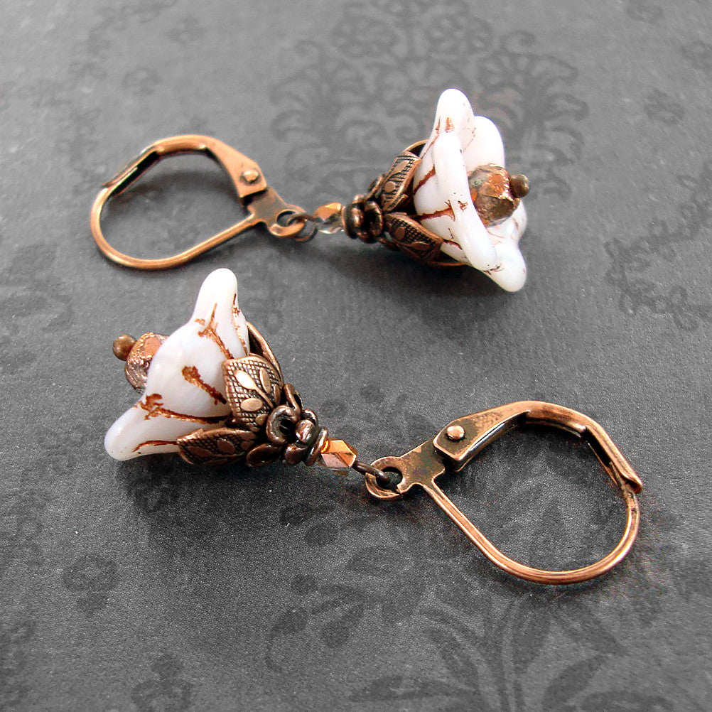 White Copper Flower Earrings