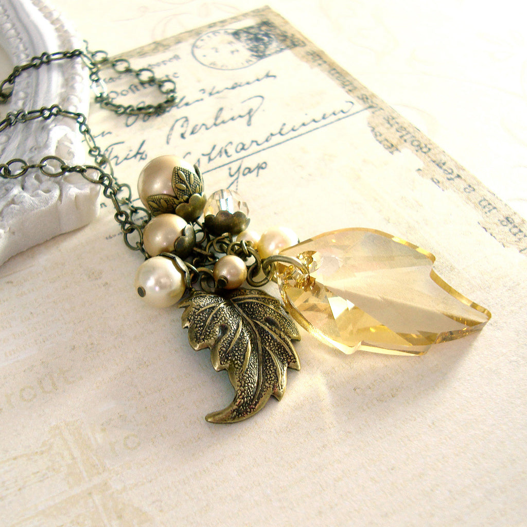 Golden Autumn Swarovski Crystal Leaf Necklace