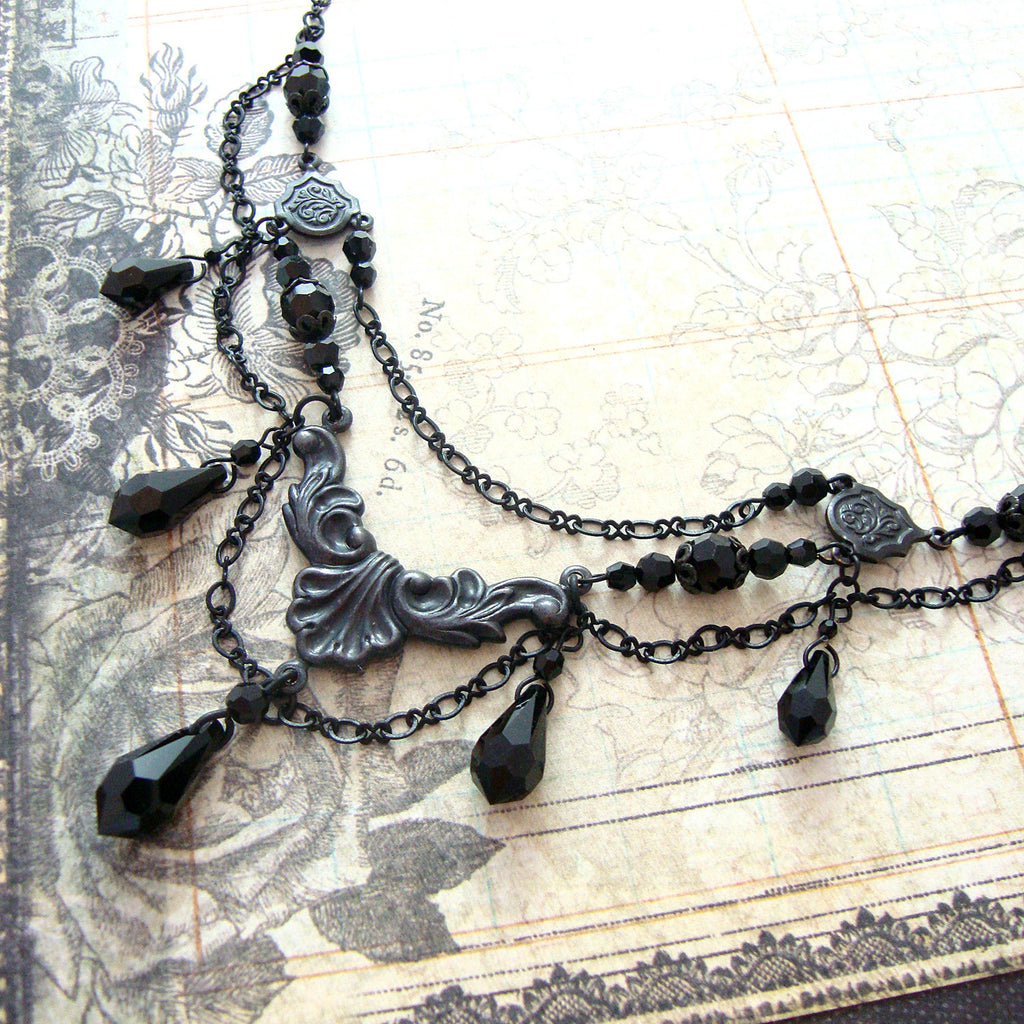 Victorian Mourning Teardrop Chandelier Necklace