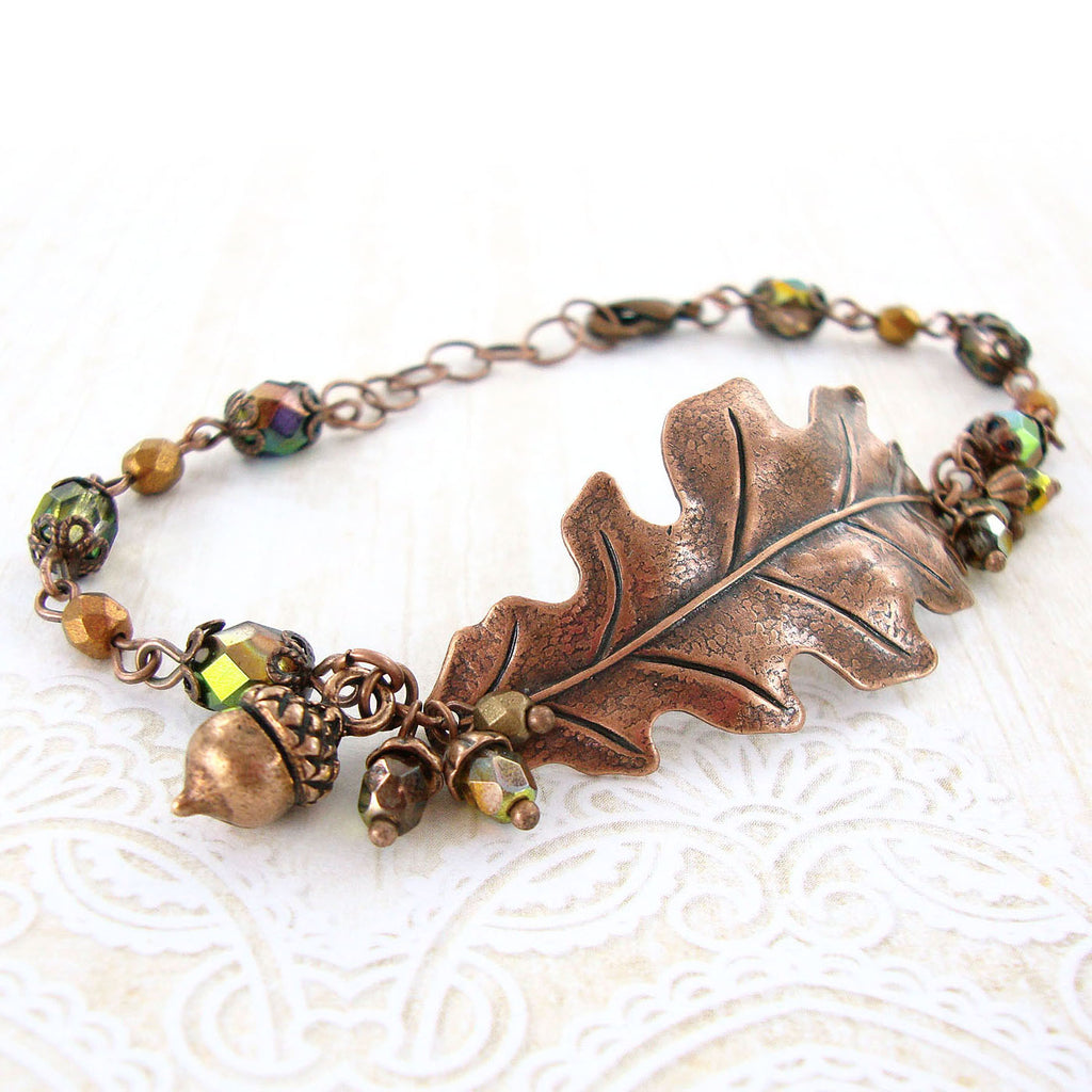 Copper Oak Leaf and Acorn Bracelet