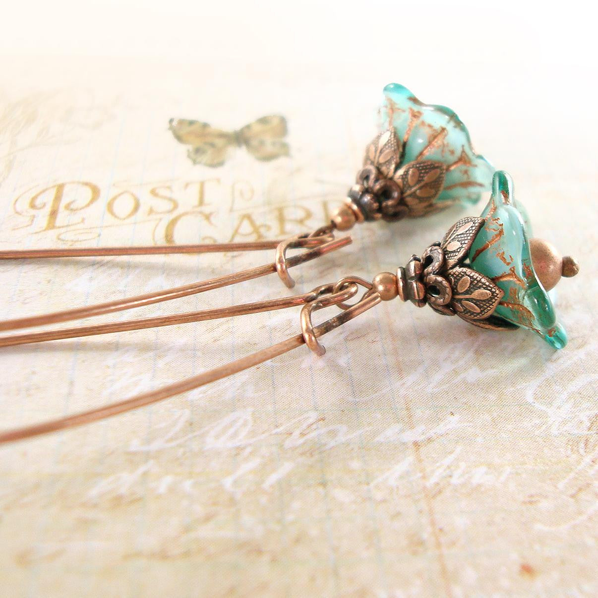 Aqua blue and copper flower earrings
