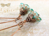 Aqua Blue and Copper Long Flower Earrings