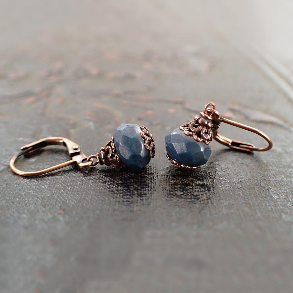 Rustic Dark Teal Bead Earrings