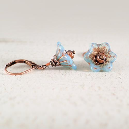 Translucent Light Blue and Copper Flower Earrings