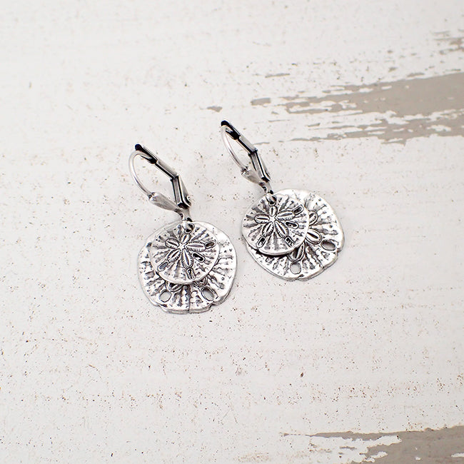 Boho Silver Ox Sand Dollar Dangle Earrings