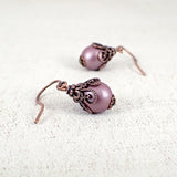 Mauve Victorian Style Glass Pearl Earrings