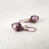 Mauve Pinkish Purple Shabby Earrings