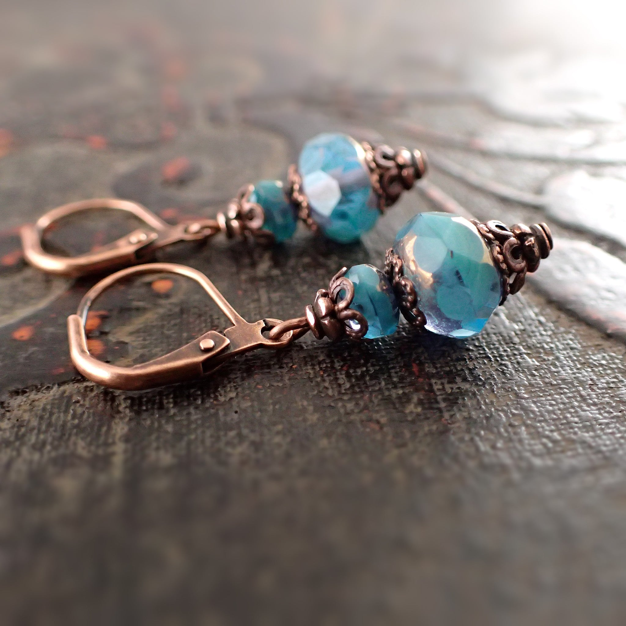 Swirly Turquoise and Copper Earrings