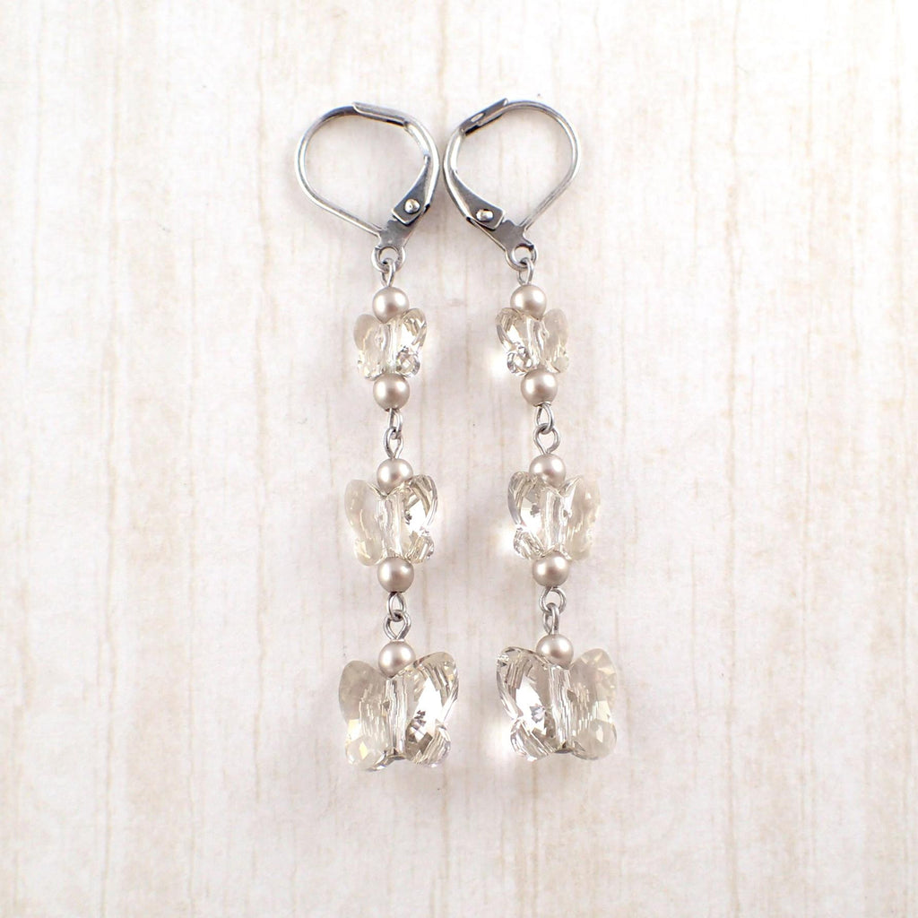 Silver Shade Swarovski Crystal Butterfly Earrings